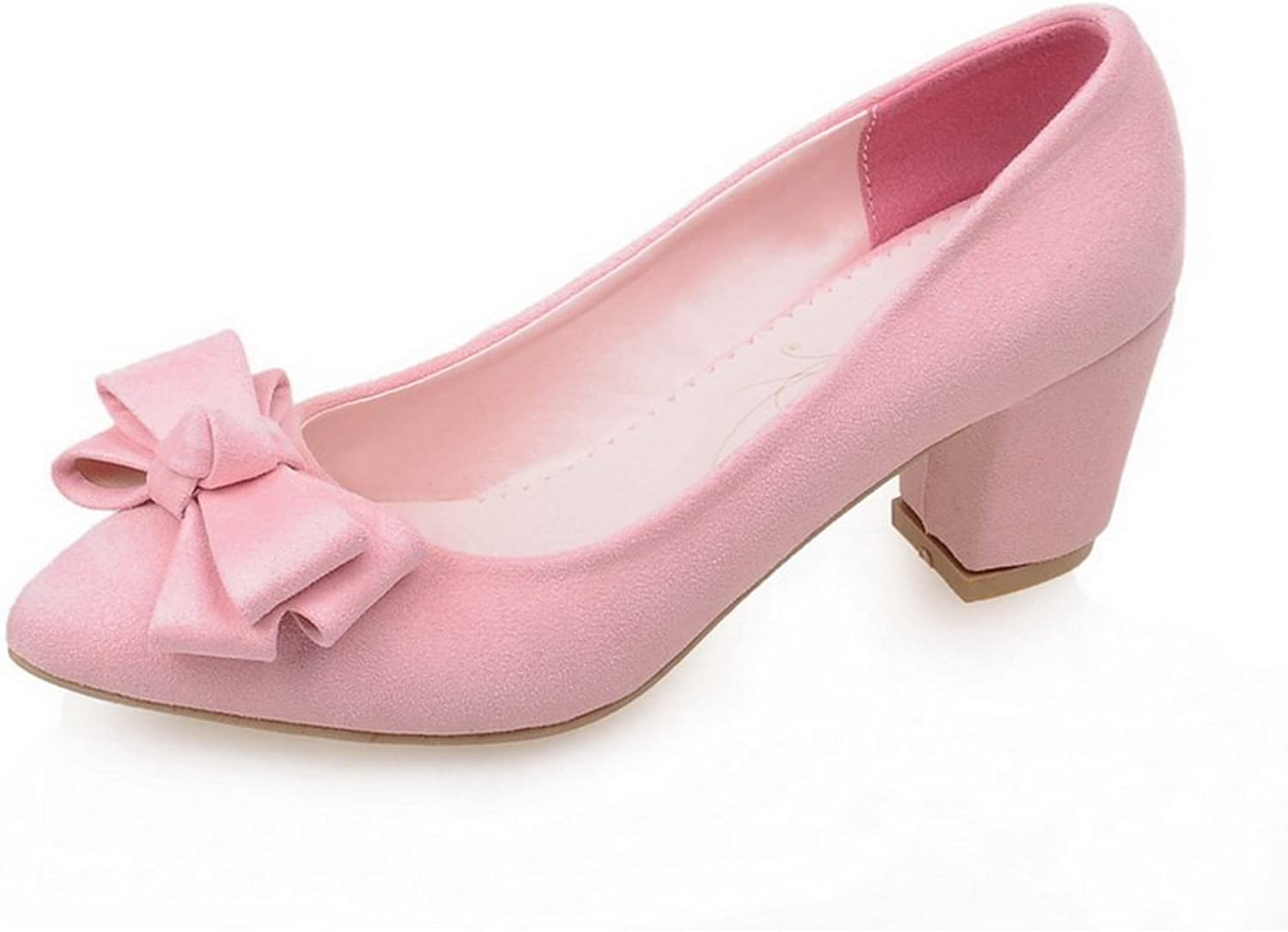 BalaMasa Ladies Bows Chunky Heels Pointed-Toe Suede Pumps shoes