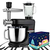 COOKLEE 6-IN-1 Stand Mixer with Christmas Box, 9.5 Qt. Multifunctional Electric Kitchen Mixer with 9 Accessories for Most Home Cooks, SM-1507BM, Nero Nemesis Black