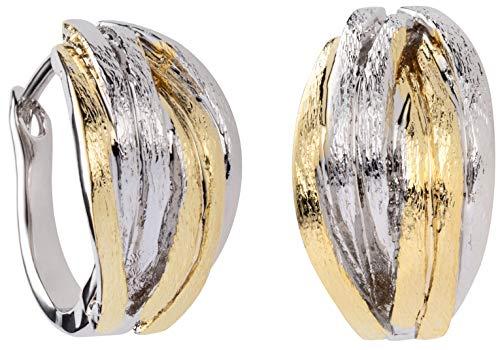 Perlkönig | Pendientes de aro para mujer | colores plateados y dorados | glamurosos | bicolor | cierre sin níquel