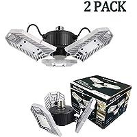 2-Pack Mopzlink 6000 Lumens Deformable Trilights Basement Ceiling Light