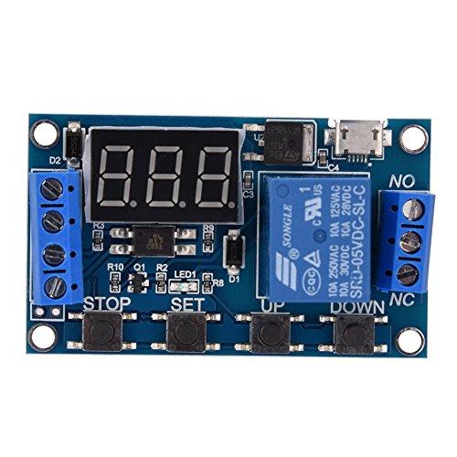 Relaismodul - DC 6V ~ 30V Auslöseverzögerung Ein/Aus-Zeitschaltuhr Relay Switch-Modul, mit LED-Anzeige, Micro-USB 5V