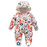 Lemohome Baby Snowsuit Romper Fleece Lined Outwear Winter Warm Outfit with Gloves (9-12 Months, Orange)