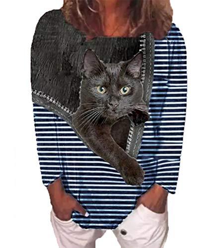 Tomwell Damen Sweatshirt Langarmshirt Mit Katzenmotiv Tierdruck Oberteile Herbst Winter Rundhals Bluse Casual Loose Pullover Shirts Hemd Stil Q1 XXL