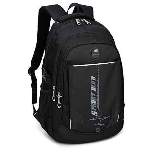 DCCN 35L Multifunktionale Daypack Schulrucksack Daypacks Schultasche Schwarz + Grau