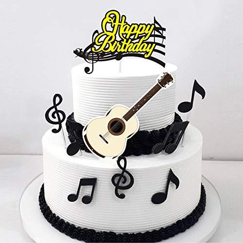 ABRC 1set / Musiknote Alles Gute zum Geburtstag Cartoon-Kuchen-Deckel-Kuchen-Flagge Papier Gitarre Babyparty-Geburtstags-Kuchen-Backen-Partei-Dekoration