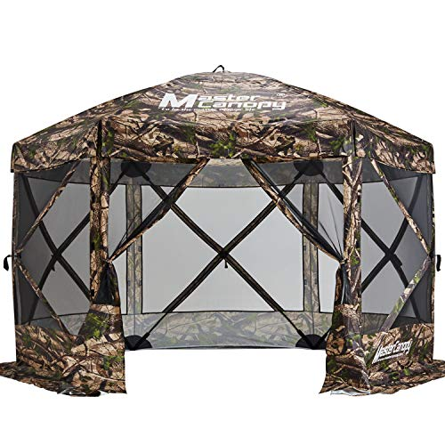 MASTERCANOPY Escape Shelter, 6-Sided Canopy Portable Pop up Canopy Durable Screen Tent Bug and Rain Protection (6-8 Persons), (120''x120'', Camouflage)