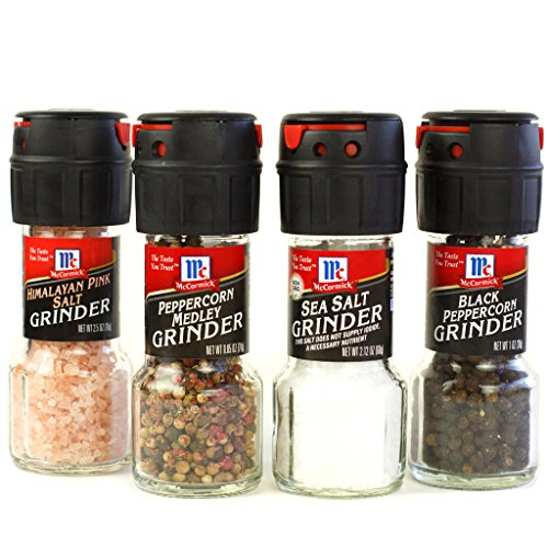 Salt & Pepper Grinder Variety Pack By McCormick (Himalayan Pink Salt, Sea Salt, Black Pepper, Mixed Peppercorn Grinder), 4 Count