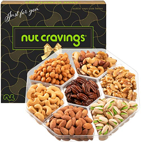 Gourmet Nut Gift Basket, Brown Box (7 Mix Tray) - Valentine Food Arrangement Platter, Care Package Variety, Prime Birthday Assortment, Healthy Kosher Snack Tray for Families, Women, Men, Adults