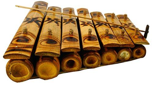 Guru-Shop Tisch Klangspiel, Musik Percussion Rhythmus Klang Instrumente aus Bambus - Modell 5, Braun, 8x38x35 cm, Musikinstrumente