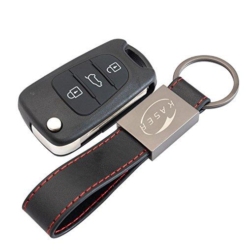 Schlüssel Gehäuse Fernbedienung für Kia 3 Tasten Autoschlüssel Funkschlüssel für Kia Sportage Venga Piccanto Rio mit Leder Schlüsselanhänger KASER
