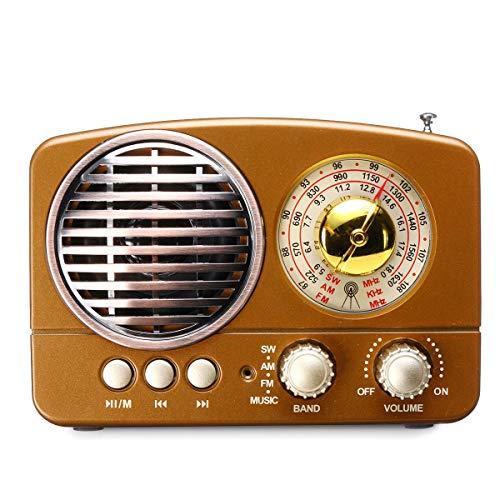 ist Präfekt für Streaming / Podcasting / Gaming Trinkbarer 5W Retro-WLAN-Bluetooth-Mini HIFI Lautsprecher-Stereo-Hansfree-Headset-Unterstützung FM AM SW USB AUX TF Karte ( Color : Brown )
