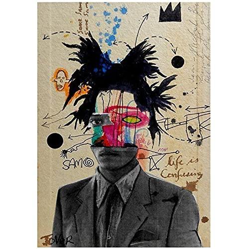 WSTDSM Arte Pop Moderno Estilo de Graffiti Abstracto Personaje Graffiti Lienzo Pintura decoración de Interiores Pintura para Colgar en la pared-20x28 Pulgadas x1 sin Marco
