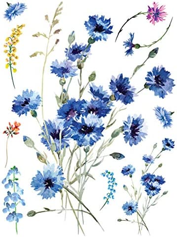 Supperb Temporary Tattoos Watercolor style Handrawn Blue painted flowers floral Daisy Chrysanthemum product image