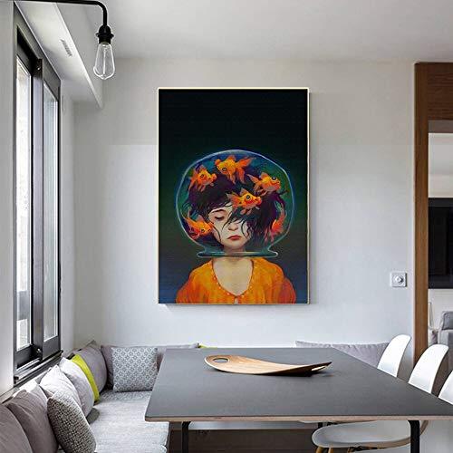 oioiu Kreative abstrakte Kunst nordische Ölgemälde Mädchen Fisch Wandkunst Malerei...