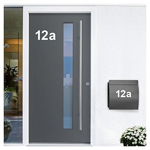 Wandora W1473 Wandtattoo Hausnummer selbstklebend I weiß Höhe 10 cm Zeichen 1 I Zahlen Buchstaben Ziffern Tür Beschriftung