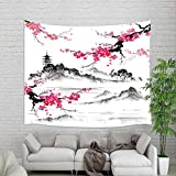 Japanese Watercolor Spring Tapestry Wall Hanging, Mount Fuji with Cherry Blossoms Sakura Flower Wall Tapestry Art for Home Decorations Dorm Decor Living Room Bedroom Bedspread, Wall Blanket, (90X70in)