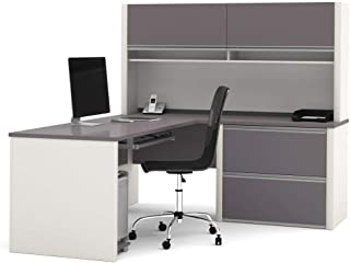 Bestar Connexion L-Shaped Desk with Two Oversized Pedestals, Slate/Sandstone