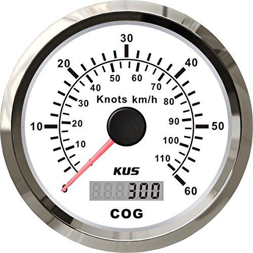 KUS GPS Velocímetro Cuentakilómetros Indicador 60Knots 110KM/H Para barcos Yates 85mm Con luz de fondo (Blanco)