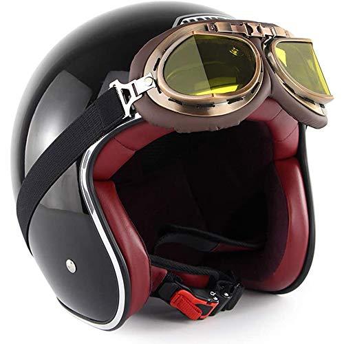 ZYW All'aperto Gioventù Convertibile del Motociclo Casco Mezzo Retro Topless del Casco del Casco del Motociclo del Motorino della Bici Via Maneggio Viaggi Casco Mezzo con Visiera,Grigio