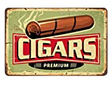 AOYEGO Cigars Shop Tin Sign, Vintage Metal Tin Signs for Cafes Bars Pubs Shop Wall Decorative Funny Retro Signs for Men Women 8x12 Inch