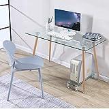 GOLDFAN Glas Schreibtisch Metallbeine Bürotisch Computertisch Arbeitstisch Eckschreibtisch Rechteckiger Tisch 110cm