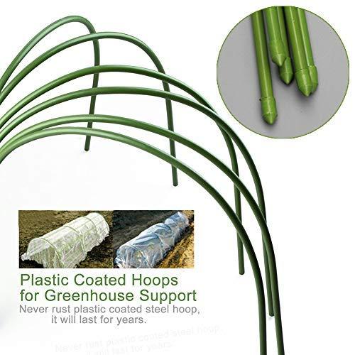 LIDEBLUE 6 Stück Gewächshaus-Hoops für Pflanzenabdeckung, Metall-Stützstäbe mit Kunststoffbeschichtung, rostfreier Pflanztunnel