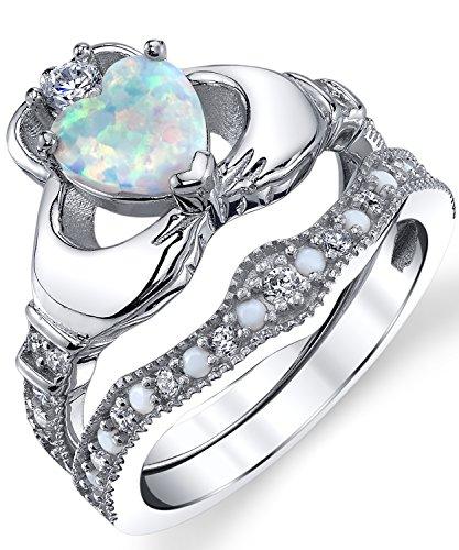 Ultimate Metals Co.  - Anello di fidanzamento Claddagh a forma di cuore, in argento Sterling 925, con opale bianco e zirconia cubica e Argento, 9,5, colore: Argento, cod. SILRXXX2895