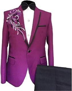 Howely Men Wedding Tuxedo Basic Style One Button Blazer Pants Sets