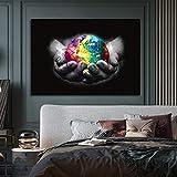 oioiu Tierra Colorida Creativa, Somos el Mundo Arte Lienzo Pintura Sala de Estar decoración del hogar Pintura Pared sin Marco