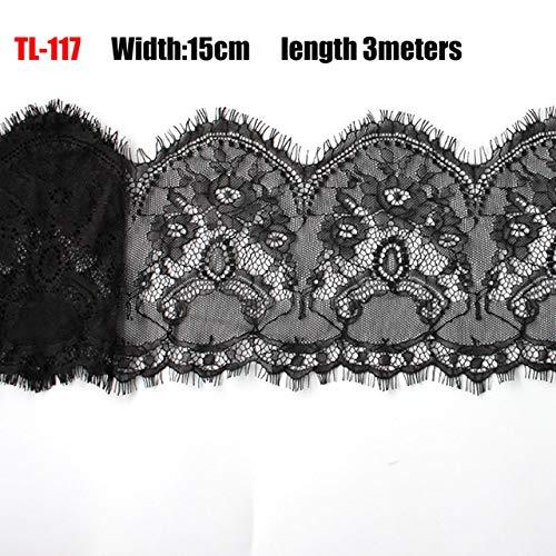 Tings 18cm breedte zwarte wimpers Lace Trim bloem eenzijdige Wave Lace stof handgemaaktekleding accessoires ondergoed, 15cm TL117 kant