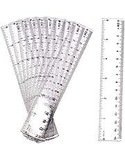 LUTER 10 Pieza Regla de Plástico Transparente 15cm Regla Recta de 6 Pulgadas Kit de Regla de Plástico Transparente Herramienta de Medición para Oficina Escolar de Estudiantes