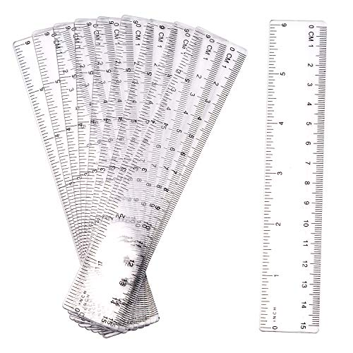LUTER 10 Stück 15cm Lineal Plastik Lineal Transparentes Lineal Messgerät mit Zoll und Metrisch für Schule, Büro, Zuhause