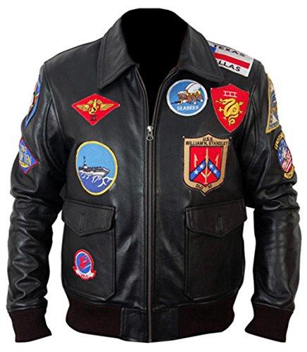 Top Gun Captain Maverick Fighter Pilot Kostüm Stilvolle Freizeitkleidung Echtleder Jacke Gr. M, Schwarz