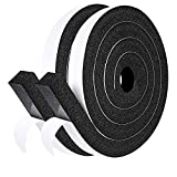 """fowong Open Cell Foam Seal Tape 2 Rolls, 1"""" W X 1"""" T X 13' L, Air Conditioner Seal Low Density Door Insulation Strip High Resilience Flame Resistance, 2 X 6.5 Ft"""