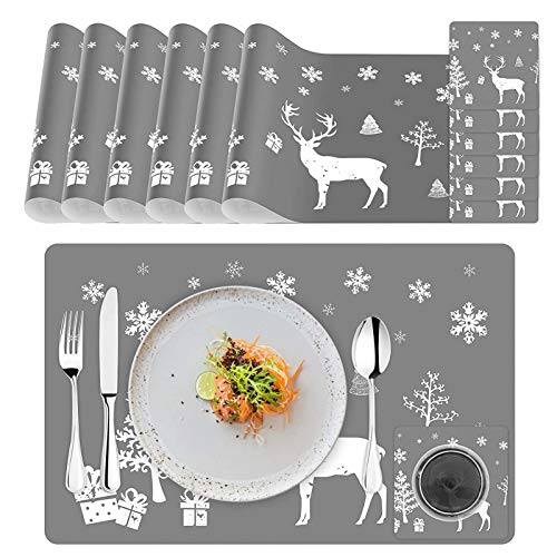 6 Sätze Telleruntersetzer und Platz-Matten,Platzdeckchen,Weihnachten Tischset,Weihnachten Tischdekoration,Tisch-Matten Hitzebeständige Wasserdichtes für Küche Speisetisch,Weihnachten Platzset