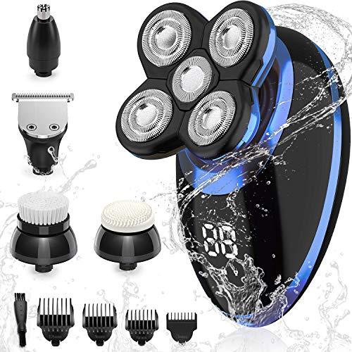 SEFON Elektrorasierer für Männer mit Glatze, Rasierer Rasieren 5-in-1 5D Haarschnitt USB wiederaufladbar LED Akku, Rotationsrasierer Grooming Kit mit Clipper Nasenhaar Koteletten Trimmer