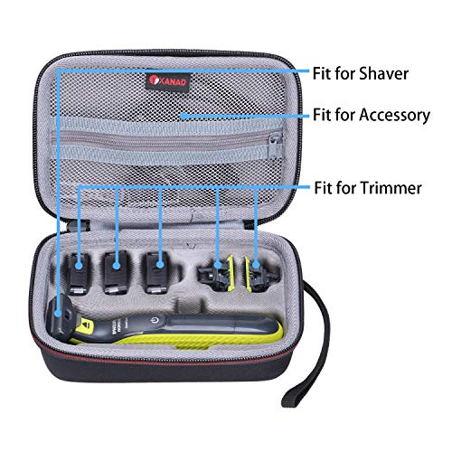 XANAD Hard Case for Philips Norelco OneBlade QP2520/90 or QP2520/70 Hybrid Electric Trimmer and Shaver - Travel Carrying Storage Protective Bag
