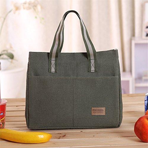 qearly Mode Toile Sac isotherme Sac repas pochette sac de pique-nique sac isotherme Snack pour enfants et adultes de mort Vert