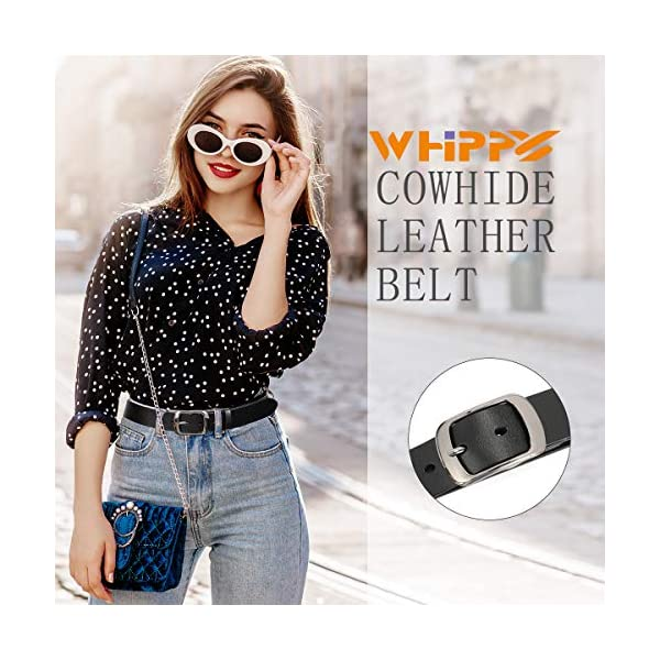 WHIPPY Women Leather Belts with Solid Pin Buckle 2