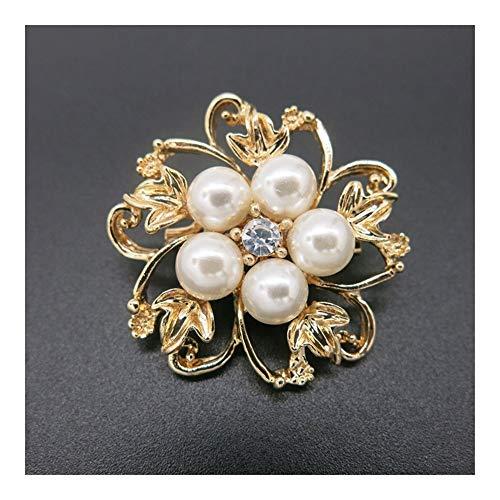 GSZP Fabricación de Perlas de Esmalte de Cristal Diamantes de imitación simulado Flor de la Perla for Las Mujeres Hijab Clip Fular Capa del suéter broches joyería de la Boda Vestido de Pin