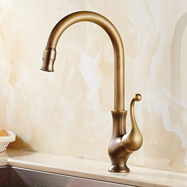CZOOR Single Handle Vessel Sink Mixer Tap Kitchen Faucet Antique Cold Hot Water Washbasin Tap Brass Swivel Spout Kitchen Faucet