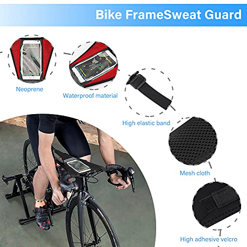 LINGSFIRE Bike Sweat Cover with Phone Pouch, 2PCS Universal Bicycle Sweat Guard Washable Sweatbands Cycling Accessories, Strong Sweat Protector Net Frame Guard for Bicycle Trainer Road Bike Sweat Net
