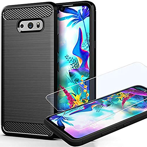 G8X Thinq Case, V50S Thinq Case with HD Screen Protector, Yuanming Soft TPU Slim Shockproof Anti-Fingerprint Full-Body Protective Phone Case Cover for G8X Thinq (Black)