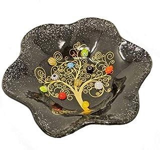 SOSPIRI VENEZIA Cuencos de cristal de Murano con diseño de árbol de la vida, 19 x 19 cm, de cristal, con diseño de murrina y hoja dorada, hecho a mano por artesanos Venecianos (negro)