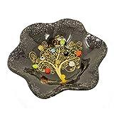 SOSPIRI VENEZIA Cuenco con flor de cristal de Murano con árbol de la vida, 13 x 13 cm, cristal, decoración murrinas y hoja dorada, hecho a mano por artesanos venecianos (negro)