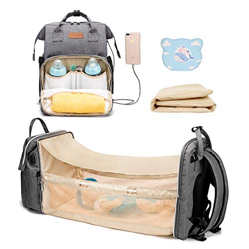 Cosy Casa Baby Diaper Bag Backpack with Travel Bassinet Changing Station Mat Portable Crib for Baby Girl Boy Infant Mom, Mommy Bag Tote with Toddler Bed Sleeper Diaper-Bag-Backpack-Baby-Travel(Grey)
