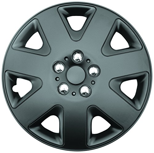 """Topline Products C8086-15B Satin Black 15"""" ABS Wheel Cover   Universal Hubcap   High Impact Strength   Heat-Resistant   Pack of 4"""