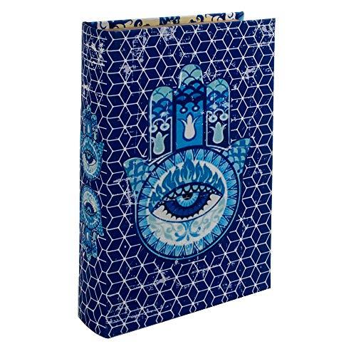 BY SIGRIS Signes Grimalt Libros Decorativos | Caja Libro de Madera - Diseño Mano de Fátima 3, 26x5x17 cm