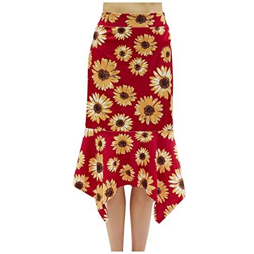 Womens Summer Dress, Fashion Women Floral Fishtail Skirt Summer Lady Leisure High Waist Beach Skirt for Holiday