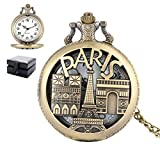 MLSJM Reloj De Bolsillo Superior Hombres, Mujeres, Reloj De Cuarzo del Bronce De París Colgante, Collar De Bolsillo con Cadena